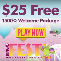 BingoFest.com $ 25 مكافأة مجانية